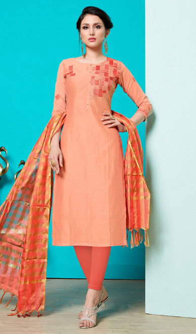 Peach Color Shaded Cotton Churidar Suit