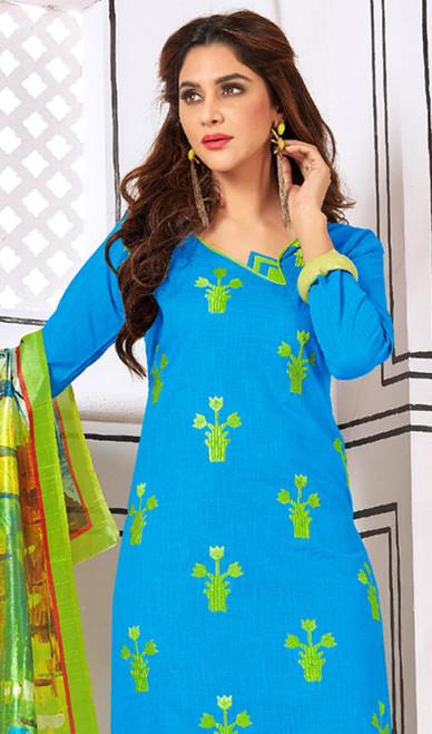 Sky Blue Color Cotton Churidar Suit
