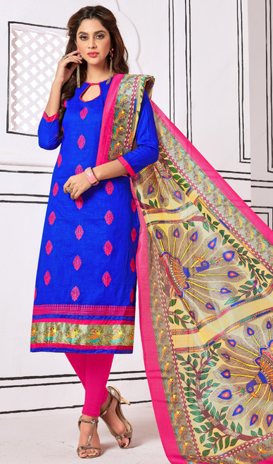 Blue Color Embroidered Cotton Churidar Dress
