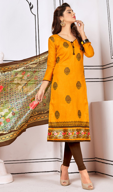 Yellow Color Cotton Embroidered Churidar Kameez