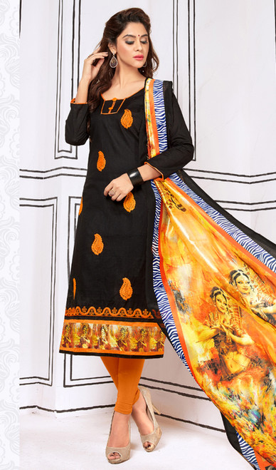 Black Color Shaded Cotton Churidar Suit
