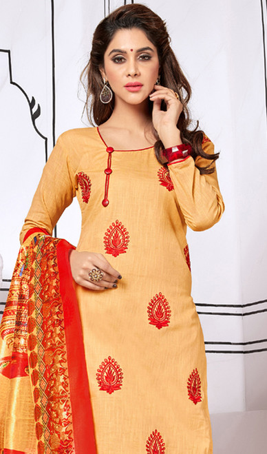 Cream Color Shaded Cotton Churidar Dress