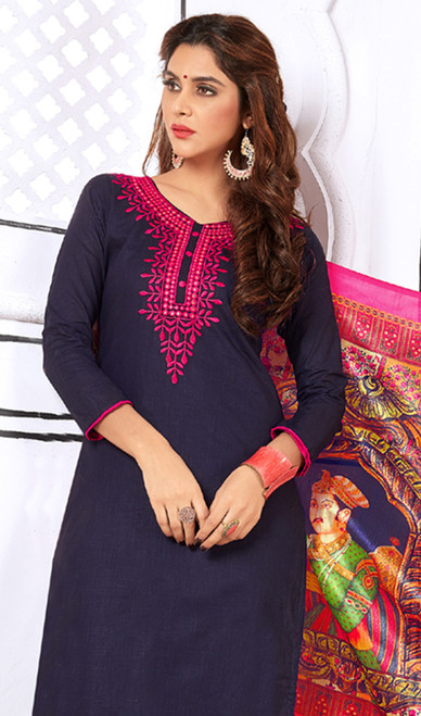 Navy Blue Color Shaded Cotton Churidar Kameez