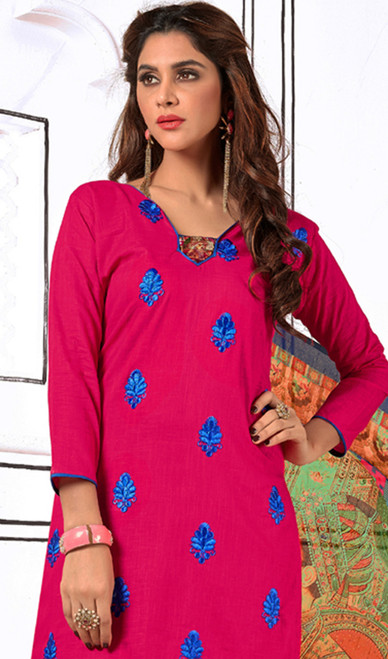 Churidar Suit in Pink Color Shaded Cotton