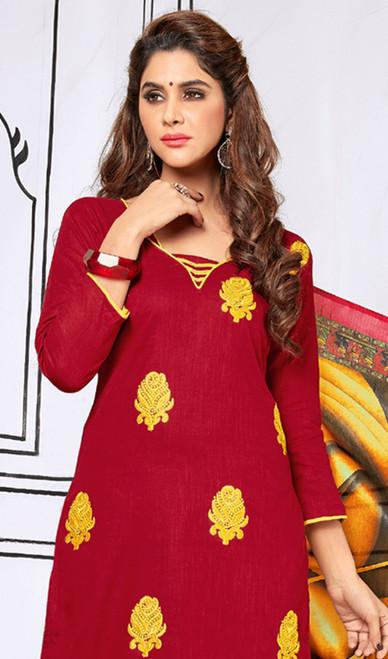 Maroon Color Shaded Cotton Churidar Dress