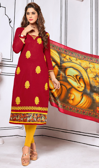 Maroon Color Shaded Cotton Churidar Dress