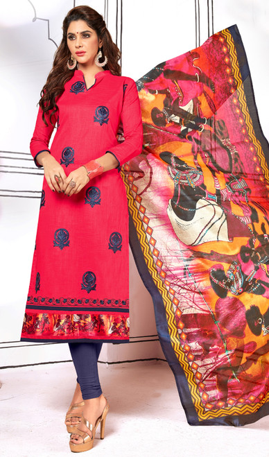 Salmon Color Shaded Cotton Churidar Kameez