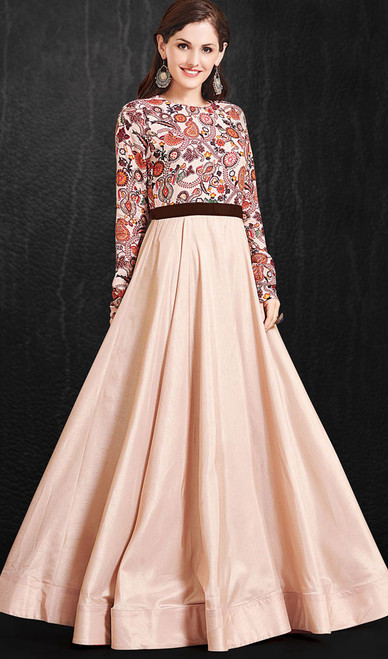 Misty Rose Color Shaded Maslin Gown