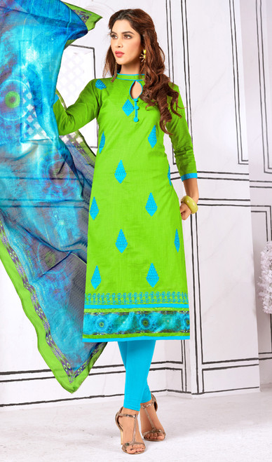 Churidar Suit, Cotton Fabric in Green Color