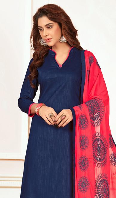 Navy Blue Color Cotton Churidar Suit