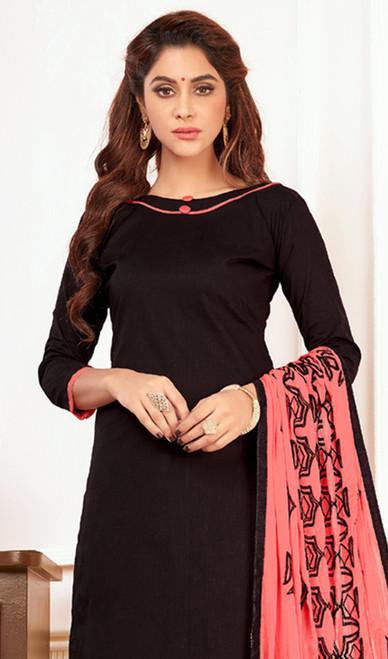 Black Color Cotton Churidar Dress