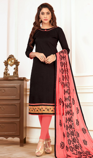 Black Color Cotton Churidar Dress