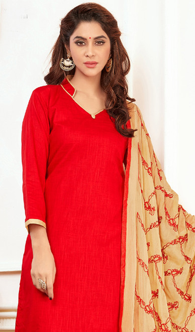 Embroidered Red Color Cotton Churidar Kameez