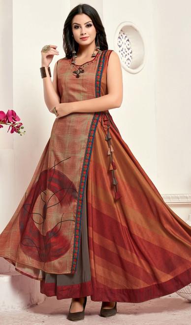 Tunic in Multicolor Shaded Silk