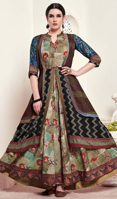 Multicolor Shaded Silk Tunic