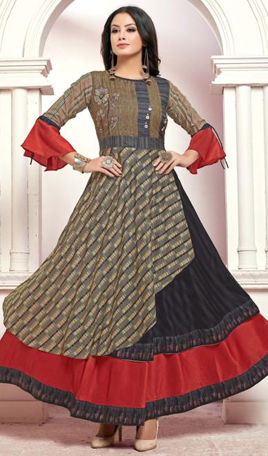 Tunic, Silk Fabric in Multicolor Shaded