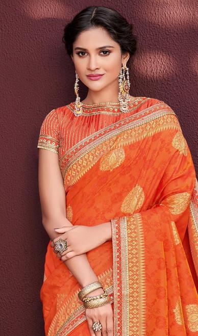 Orange Color Embroidered Banarasi Silk Sari
