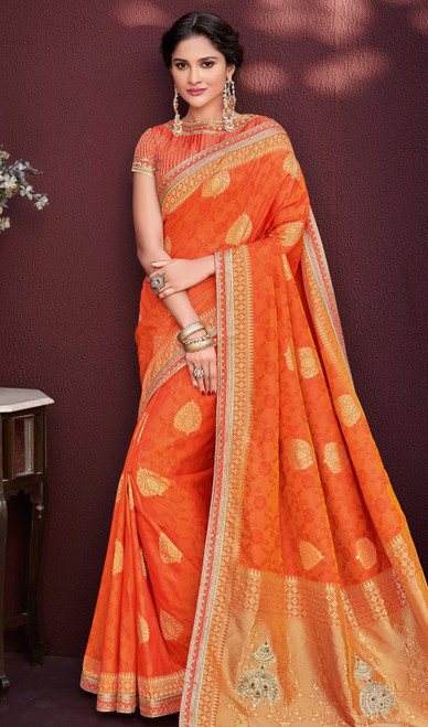 Orange Color Embroidered Banarasi Silk Sari