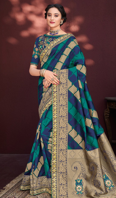 Green and Blue Color Shaded Banarasi Silk Sari