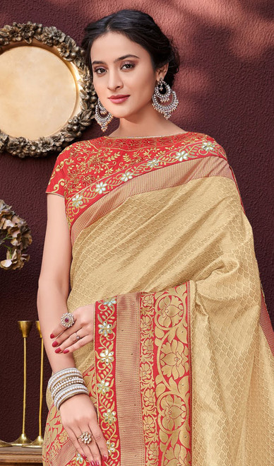 Gold Color Shaded Banarasi Silk Sari