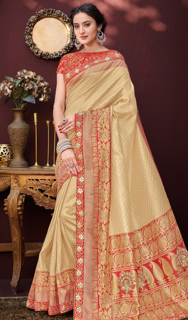 Gold Color Shaded Banarasi Silk Sari