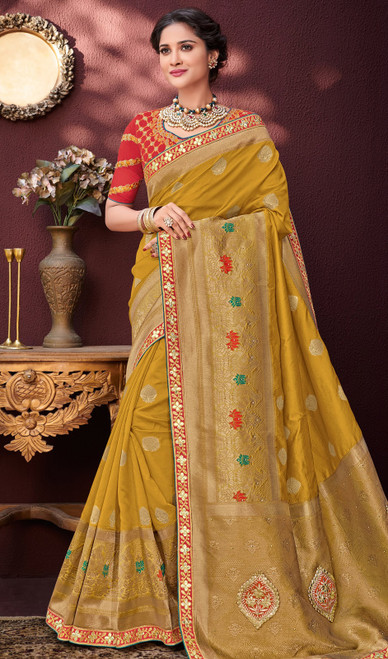 Banarasi Gold Color Silk Embroidered Sari