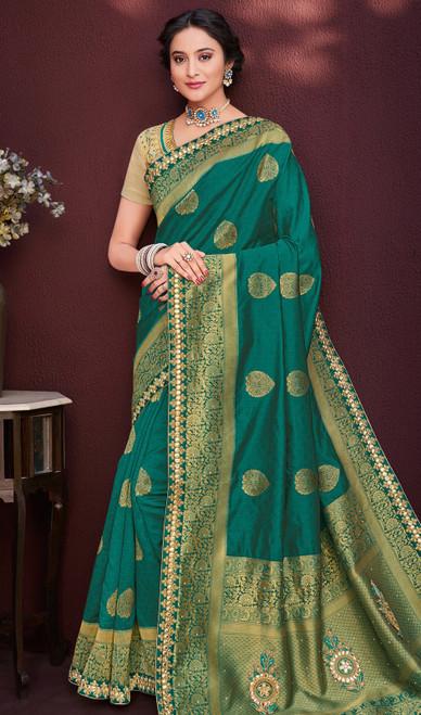 Shaded Green Color Banarasi Silk Sari