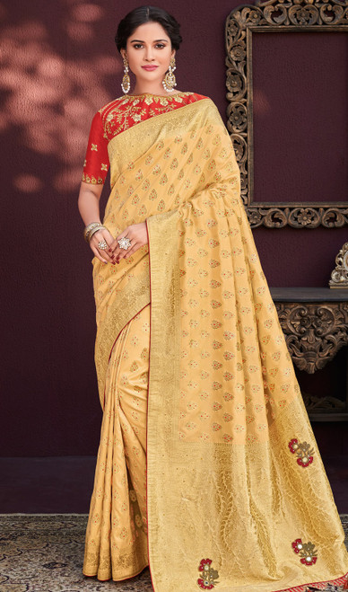 Cream Color Shaded Embroidered Banarasi Silk Sari