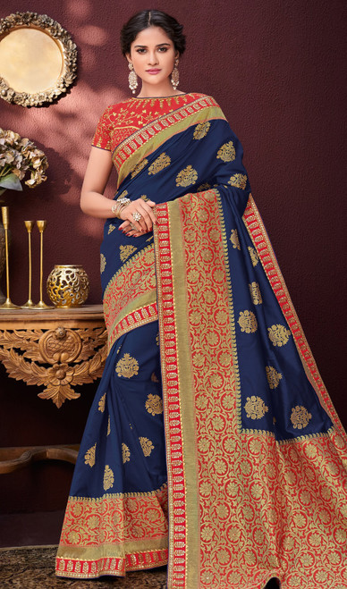 Blue and Red Color Shaded Banarasi Silk Sari