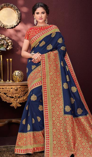 Blue and Red Color Shaded Banarasi Silk Sari