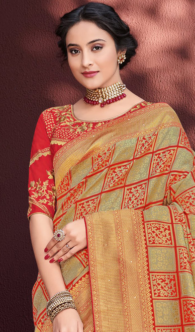 Multicolor Shaded Embroidered Banarasi Silk Sari
