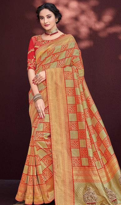 Multicolor Shaded Embroidered Banarasi Silk Sari