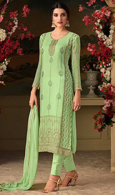 Green Color Georgette Embroidered Pant Style Suit