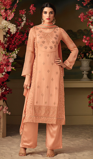 Peach Color Embroidered Georgette Suit