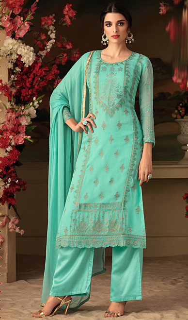 Turquoise Color Shaded Georgette Embroidered Suit