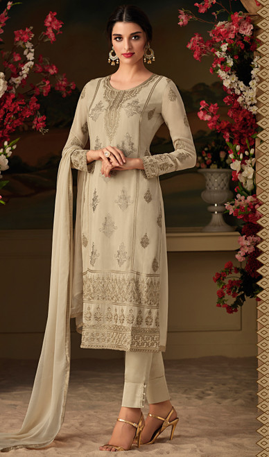 Pant Style Suit in Cream Color Shaded Georgette