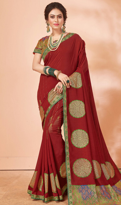 Embroidered Maroon Color Silk Sari