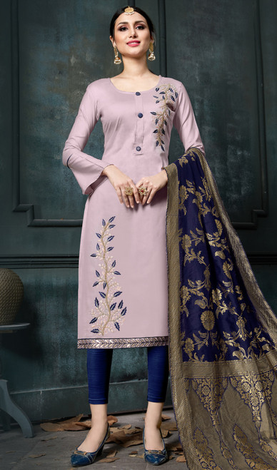 Light Purple  Color Embroidered Cotton Pant Style Suit