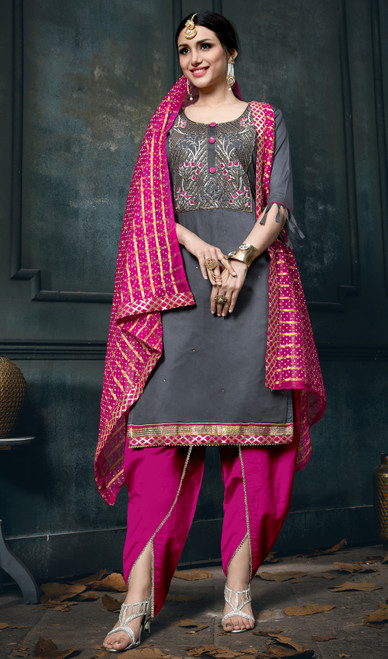 Gray Color Cotton Embroidered Dhoti Style Suit