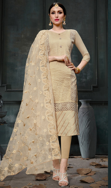 Beige Color Cotton Embroidered Pant Style Suit