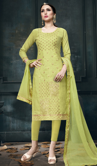 Light Green Color Shaded Cotton Pant Style Suit