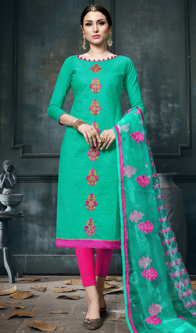 Sea Green Color Shaded Cotton Pant Style Suit