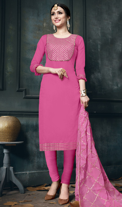 Pink Color Embroidered Cotton Pant Style Suit