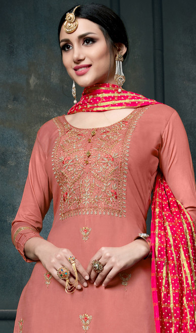 Peach Color Cotton Embroidered Dhoti Style Suit