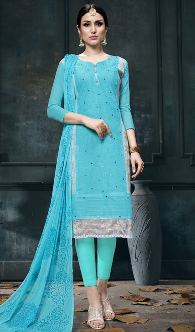 Turquoise Color Shaded Cotton Pant Style Suit