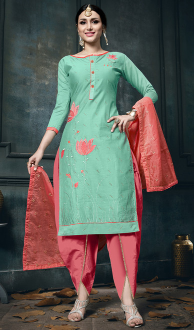 Olive Green Color Shaded Cotton Dhoti Style Suit