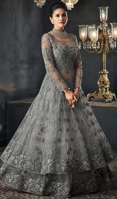 Gray Color Embroidered Net Long Anarkali Suit