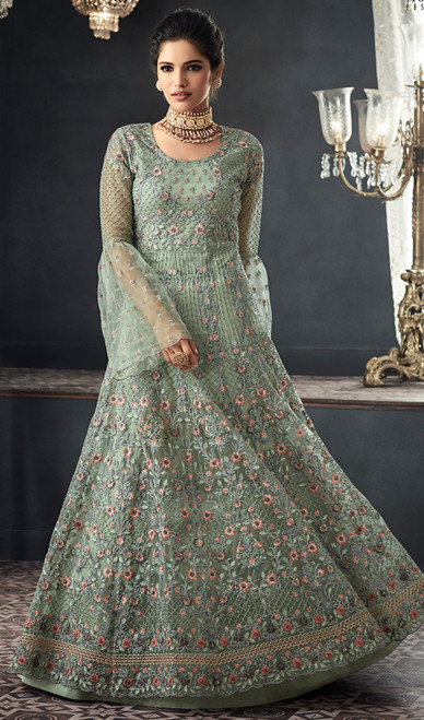 Green Color Net Embroidered Long Anarkali Suit