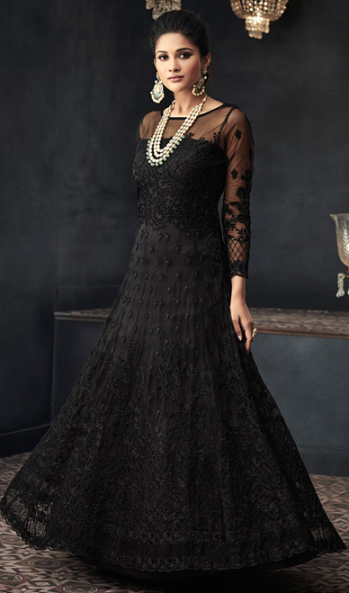 Long Anarkali Suit in Black Color Shaded Net