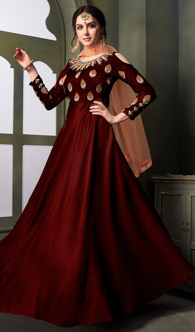 Maroon Color Embroidered Satin Silk Anarkali Suit